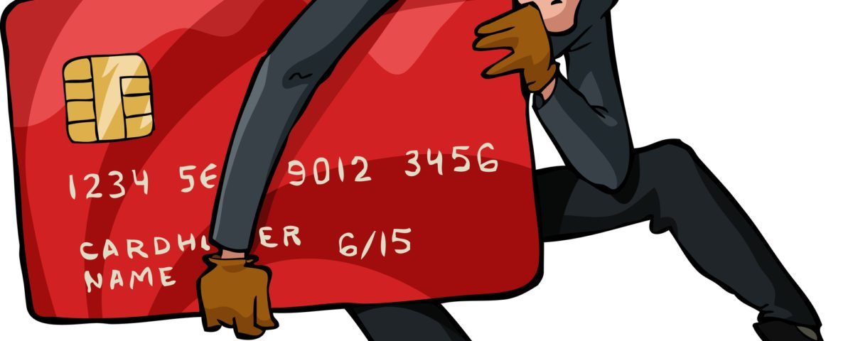 A thief with a credit card vector illustration